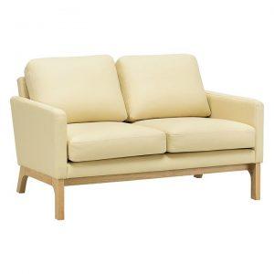 Atle Oak & Faux Leather 2-Seater Sofa