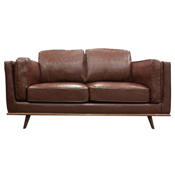Tacoma 2 Seater Sofa, PU Leather, Brown